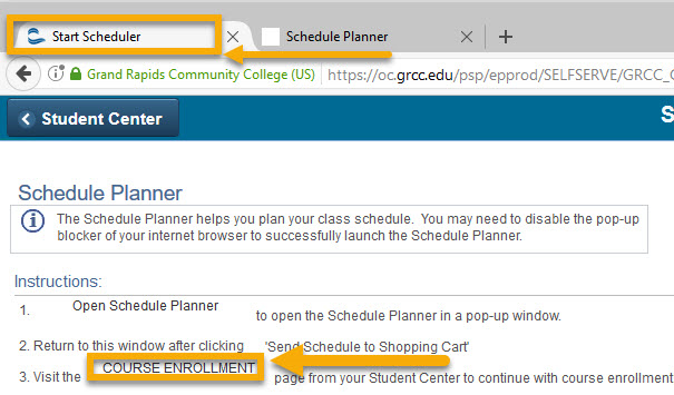 An arrow pointing to the Start Scheduler and Course Enrollment tabs.