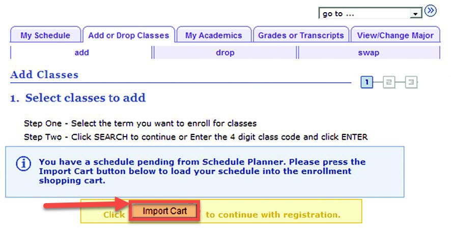 An arrow and box indicating where students would select Import Cart.