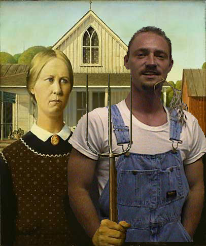 Erich photoshopped in the famous artwork American Gothic.