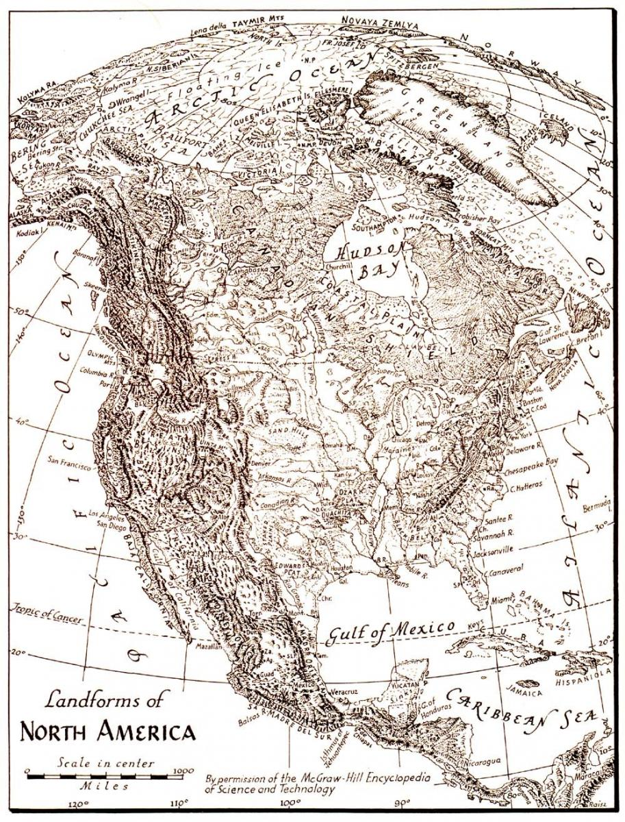 Landforms of North America map