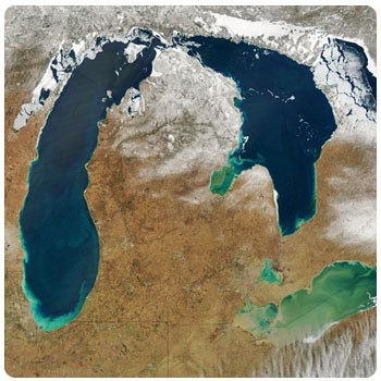 Aerial satellite photo of Michigan