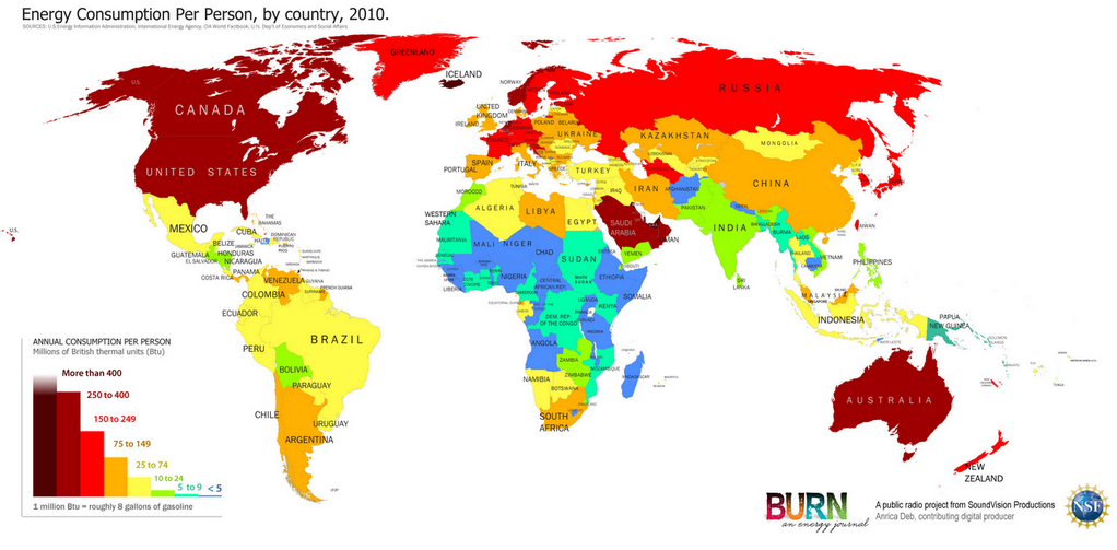 A map of geographical energy consumption