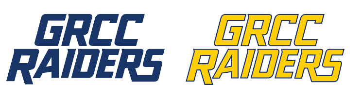 Two GRCC Raiders logo: one in blue. Another logo in yellow with a blue outline