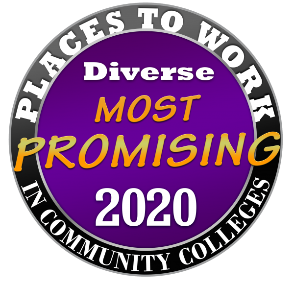Purple logo badge from The National Institute for Staff and Organizational Development and Diverse: Issues in Higher Education (Diverse) named GRCC the 2020 Promising Places to Work in Community Colleges.