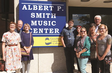 Smith family outside of the new Albert P. Smith Music Center