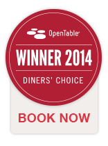 Open Table Winner 2014 Diner's Choice Book Now