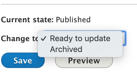 Example of the Workflow tool, showing the options to change to Archived or Ready to Update