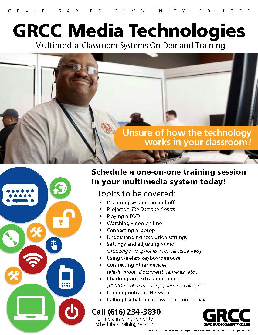 GRCC Media Technologies. Multimedia classroom systems on demand training