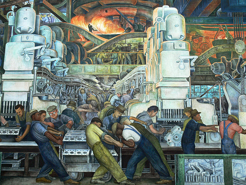 Historic artwork of men working in manufacturing