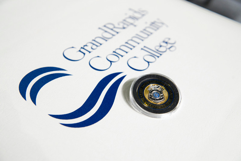 GRCC Police Academy graduation badge.