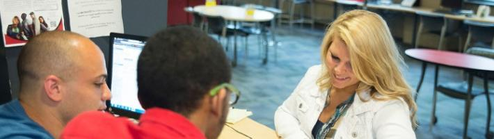 A student being advised by a counselor