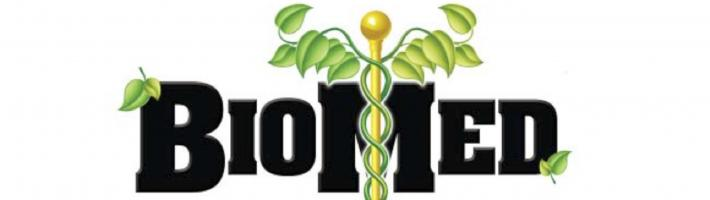 BioMed logo with a medical symbol, caduceus, that features leaves instead of snakes