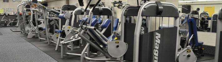Many fitness machines located in the Health Club at the Ford Fieldhouse
