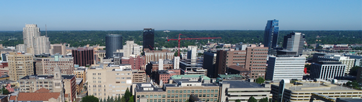 Aerial view of downtown Grand Rapids