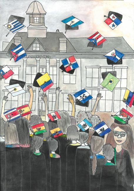 The first-place poster for the Latino Youth Conference, by Laina Delgado, shows high school grads tossing their morterboards -- which have flags on them from different Latin countries -- into the air.