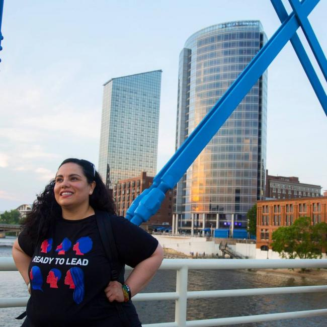 Lorena Aguayo-Marquez stands on the Blue Bridge.