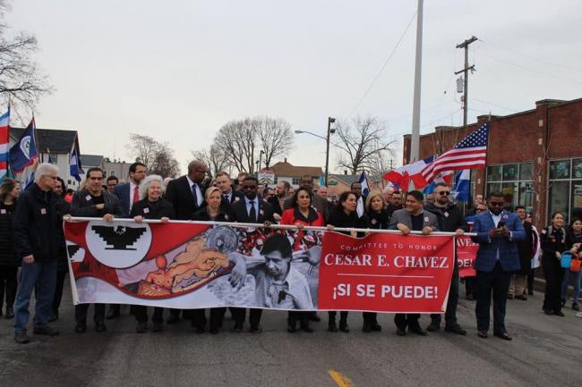 GRCC President Pink and community leaders at at Chavez commemoration march.