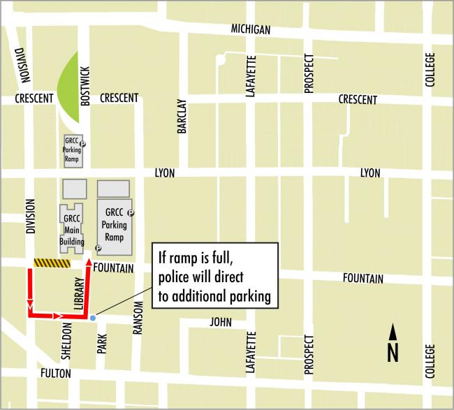 Map of Fountain Street closure and surrounding roads.