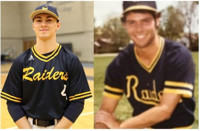 Brady Paganelli (left) wears the new alternate jersey, which is similar to those worn by coach Mike Eddington when he played at GRJC (right).