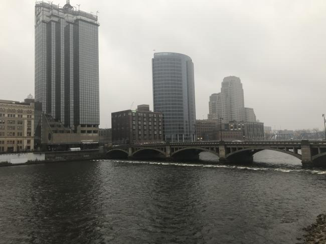 The Grand River as it flows through downtown Grand Rapids, with Amway Grand Plaza and JW Marriott hotels in background