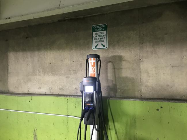 An electric charging station in the Bostwick parking ramp.