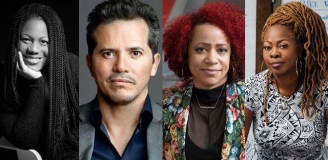 Headshots of Austin Channing Brown, John Leguizamo, Nikole Hannah-Jones, and LaTosha Brown.