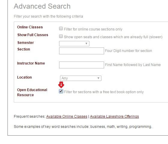 A screen capture of the advanced search for GRCC courses with a red arrow indicating how you filter for courses with a free textbook option.