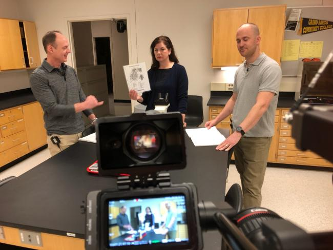 Professors Tim Hoving, Sara Krajewski and Tim Periard conducting a lesson in front of a camera.
