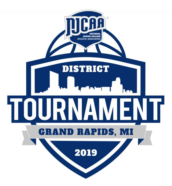 The tournament logo includes the Grand Rapdis skyline on a shield with a basketball and NJCAA logo on top.