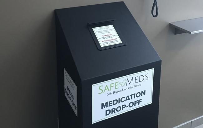 The SafeMeds drop box at Campus Police