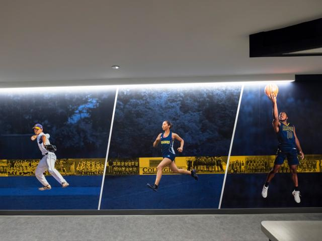 Sports banner in the Gerald R. Ford Fieldhouse lobby
