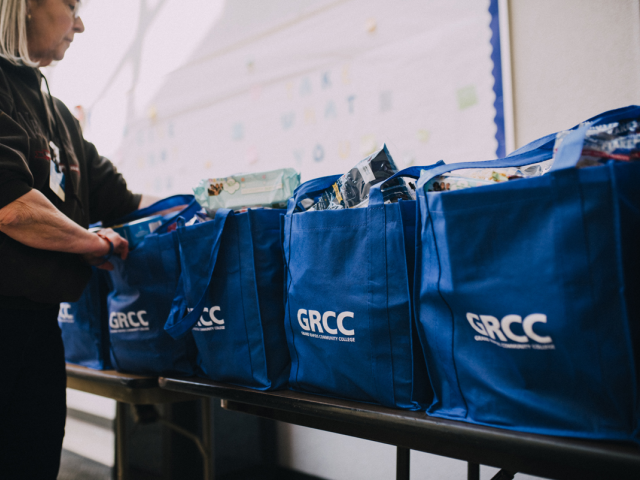 GRCC bags full of food donation items.